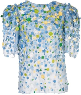 Carolina Herrera Floral-Appliquee Puff-Sleeve Blouse