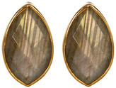 Argentovivo 18K Gold Plated Sterling Silver Marquee Shaped Labradorite Stud Earrings