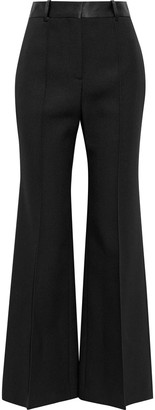Victoria Beckham Satin-trimmed Wool-gabardine Flared Pants