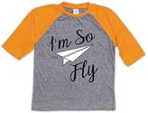 Urban Smalls Heather Gray & Orange 'I'm So Fly' Raglan Tee - Toddler & Kids
