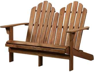 Linon Adirondack Double Bench Teak Finish
