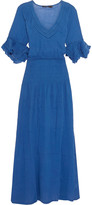 Vix Pointelle-trimmed crinkled-cotton maxi dress