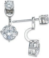 Eliot Danori Silver-Tone Double Crystal Front Back Earrings