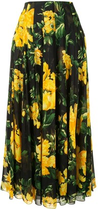 Carolina Herrera Floral Print Pleated Skirt
