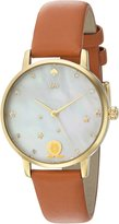 Kate Spade Women's 'Metro' Quartz Stainless Steel and Leather Casual Watch, Color: (Model: KSW1190)