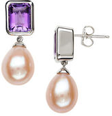 Lord & Taylor Sterling Silver Pink Freshwater Pearl and Amethyst Earrings