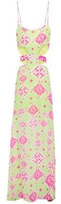 Adriana Degreas Cutout Printed Voile Maxi Dress