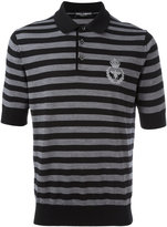 Dolce & Gabbana embroidered crown & bee polo shirt - men - Virgin Wool - 50