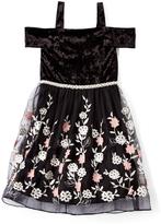 Speechless Black Velvet Floral Off-Shoulder Dress - Girls