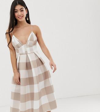 Asos DESIGN Petite check corset detail prom midi dress