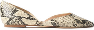 Sam Edelman Rodney Snake-effect Leather Point-toe Flats