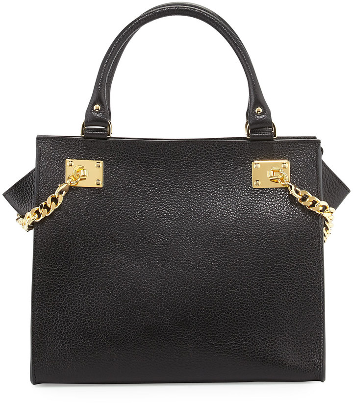 Sophie Hulme Chain Leather Shopper, Black