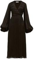 Adriana Iglesias V-neck Leopard-pattern Devore Maxi Dress - Womens - Black