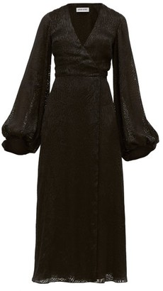 Adriana Iglesias V-neck Leopard-pattern Devore Maxi Dress - Womens - Black