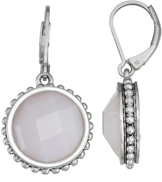 Napier White Circle Drop Earrings