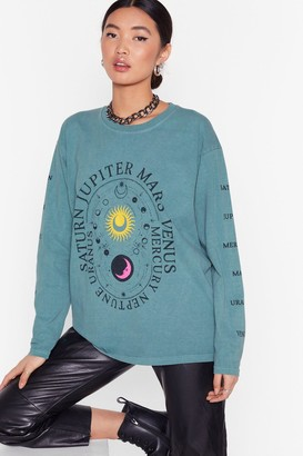 Nasty Gal Womens You Are Out of This World Relaxed Graphic Tee - Green - S