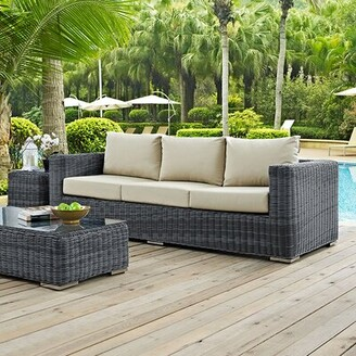 Brayden Studio Keiran Patio Sofa with Cushions Color: Gray/Antique Beige