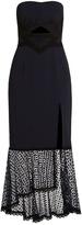 Jonathan Simkhai Lace-trimmed fluted-hem cady dress