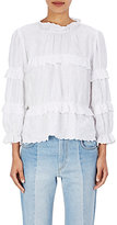 Etoile Isabel Marant Women's Daniela Embroidered Linen Peasant Top-WHITE