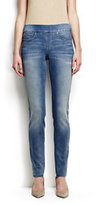 Lands' End Women's Petite Mid Rise Pull-on Skinny Jeans-Deep Sea Indigo