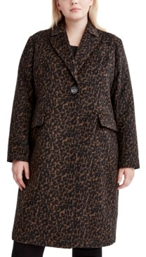 Tahari Plus Size Leopard-Print Walker Coat, Created for Macy's