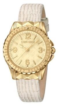 Roberto Cavalli Women's Swiss Quartz Beige Leather Strap Watch, 34mm