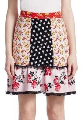 Alexander McQueen Patchwork Floral Ruffle Skirt