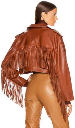 GRLFRND Sadie Leather Fringe Jacket in Brown | FWRD
