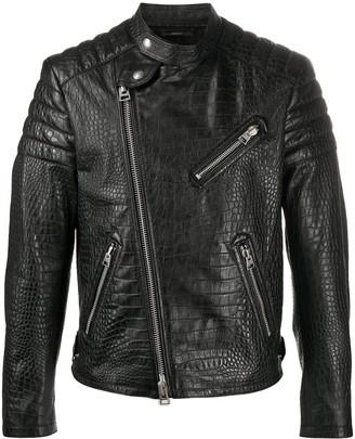 Tom Ford Croc-Effect Leather Biker Jacket