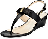 Cole Haan Elsie II Leather Bow Wedge Sandal, black