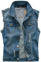 Chouyatou Men's Casual Distressed Button-Front Ripped Denim Waistcoat Jacket