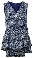 Dorothy Perkins Womens *Izabel London Blue Eastern Print Peplum Vest, Blue