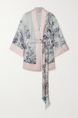 Carine Gilson Belted Floral-print Silk-satin Robe - Pink