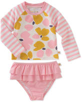 Kate Spade Two-Piece Floral & Striped Rashgaurd Swimsuit, Size 12-24 Months