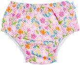 I Play Ruffle Snap Reusable Absorbent Swim Diaper (Baby) - Pink Spring Garden - 9-12 Months