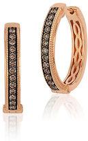 LeVian Brown Diamond and 14K Rose Gold Hoop Earrings, 0.68in
