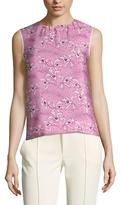 Oscar de la Renta Silk Printed Sleeveless Top
