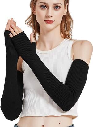 NOVAWO Wool Warm Arm Warmers Long Fingerless Gloves for Women