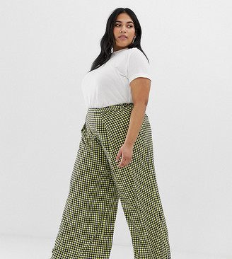 Glamorous Curve wide leg pants in gingham-Navy