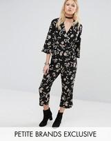Glamorous Petite Long Sleeve Wrap Detail Jumpsuit In Floral Print