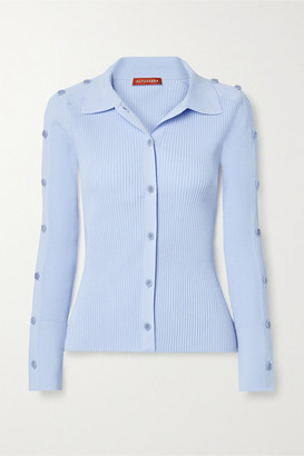 Altuzarra Jeffrey Button-embellished Ribbed-knit Top - Light blue