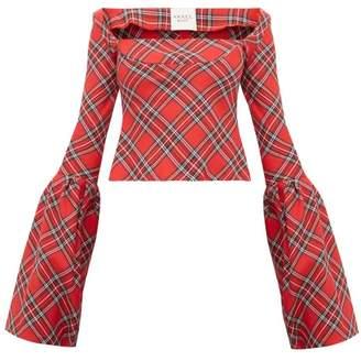 A.W.A.K.E. Mode Artemon Bell Sleeve Tartan Twill Top - Womens - Red