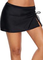 Zesica Women's Bikini Bottoms Black - Black Ruched Side-Tie Split-Hem Skirted Bikini Bottoms - Women & Plus