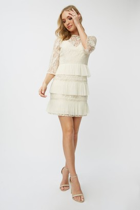 Little Mistress Teigen Cream Lace Tiered Mini Shift Dress