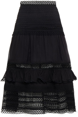Charo Ruiz Ibiza Gaita Ruffle-trimmed Crocheted Lace And Cotton-blend Voile Midi Skirt