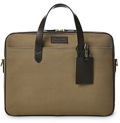 Polo Ralph Lauren Leather Trim Canvas Briefcase