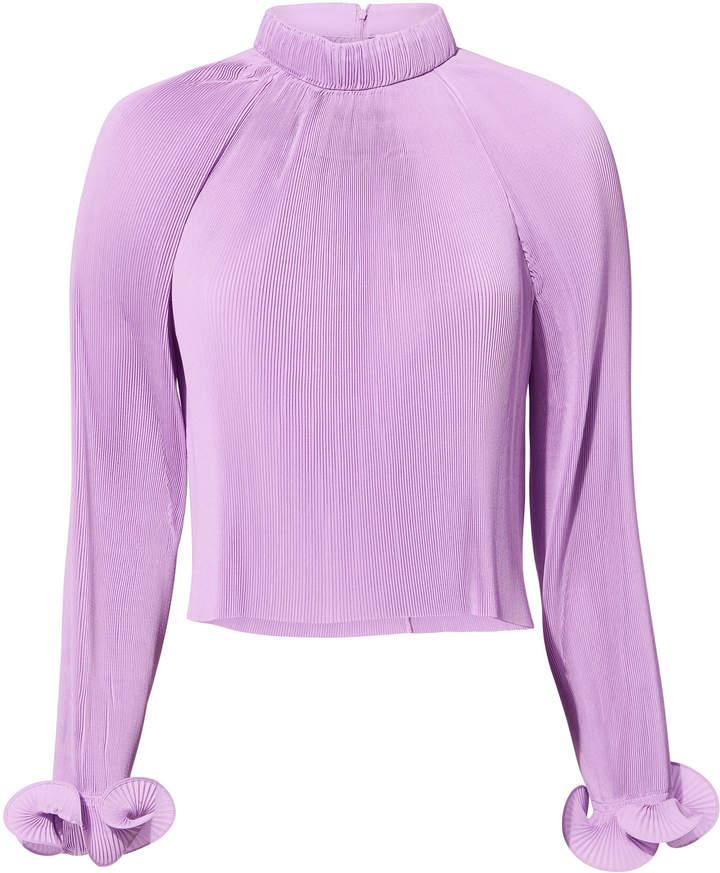 Tibi Lavender Pleated Crop Top