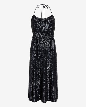 Express Sequin Tie Neck Halter Midi Dress