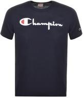 Champion Crew Neck Logo T Shirt Navy