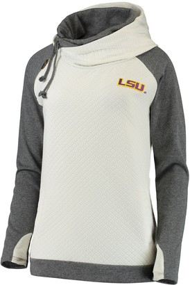 Unbranded Women's Cream/Charcoal LSU Tigers More Chill Layered Quilted Jacquard Pullover Hooded Sweatshirt